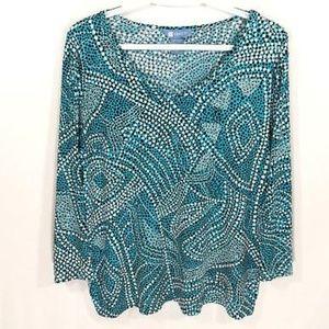 * Koret stretch polka dots 3/4 sleeve v neck blue